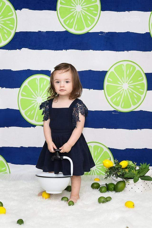 Cargar imagen en el visor de la galería, Katebackdrop:Kate Lemons Blue and White Stripe Backdrop for Photography Summer Holiday Children