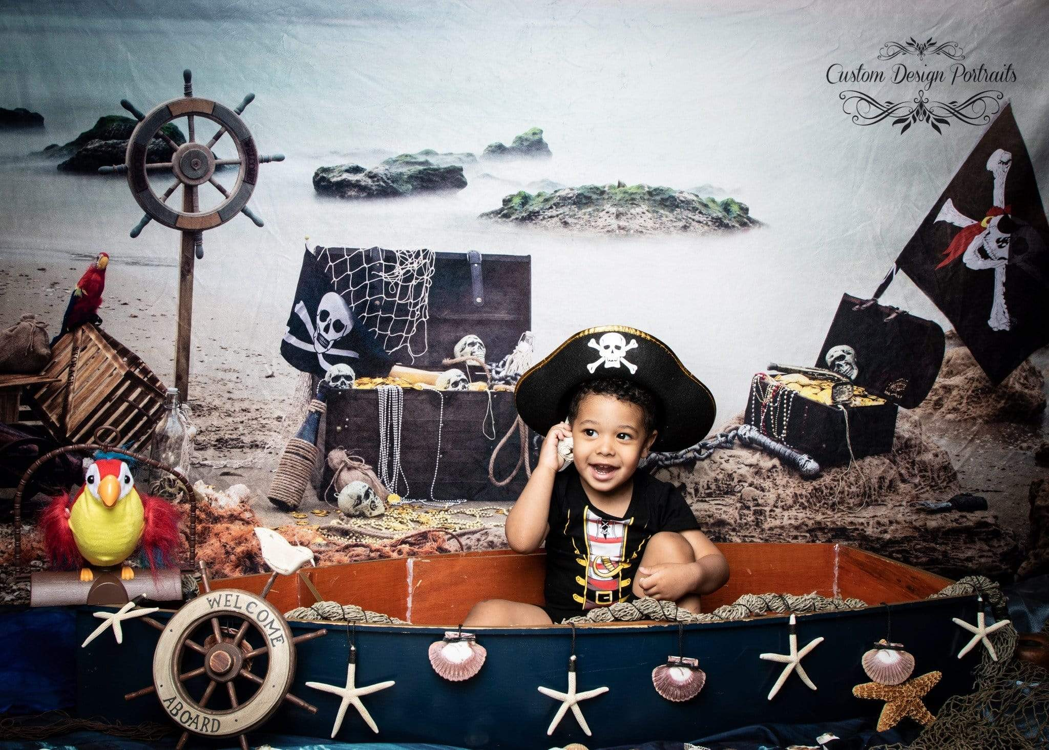 Cargar imagen en el visor de la galería, Katebackdrop:Kate Summer Sea Pirate backdrop designed by studio gumot