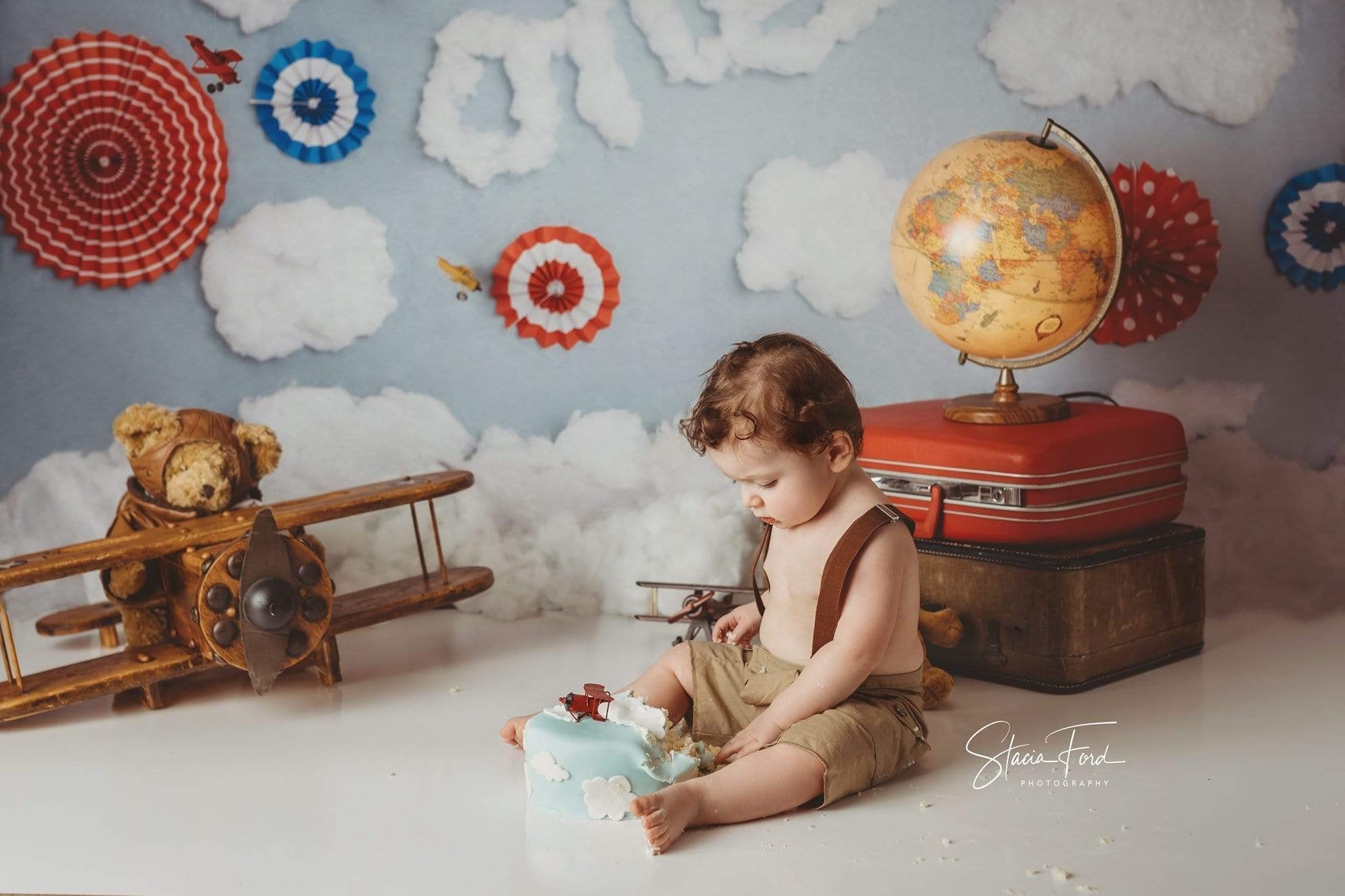 Cargar imagen en el visor de la galería, Katebackdrop:Kate Time Flies Clouds Birthday Children Backdrop for Photography Designed by Lisa B