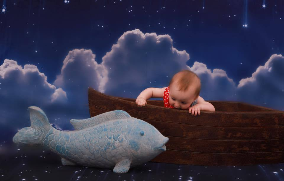 Cargar imagen en el visor de la galería, Katebackdrop£ºKate Night Sky with Moon and Cloud Children Backdrop for Photography
