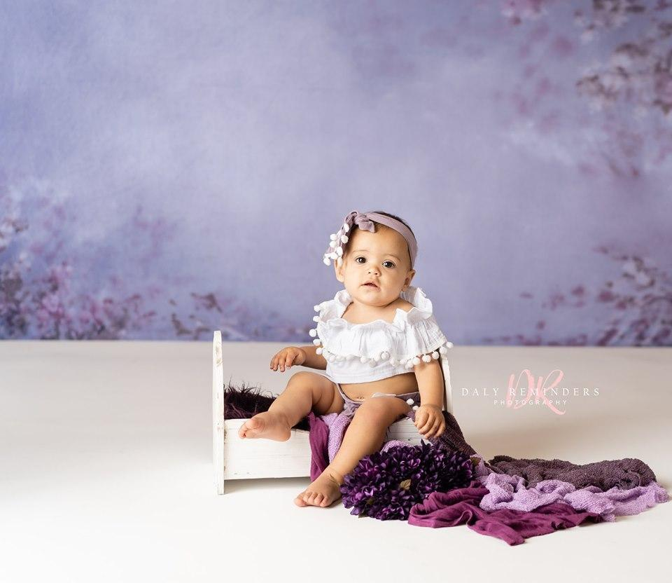 Katebackdrop:Kate Abstract Medium Purple with Flowers Backdrop for Photography Designed By Jerry_Sina