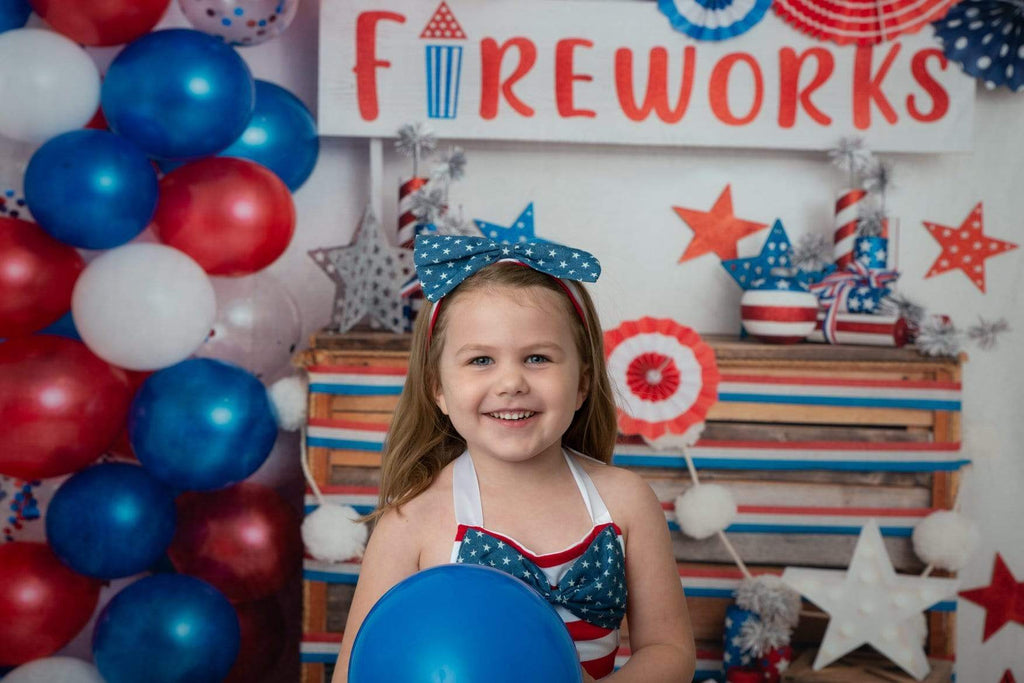 Katebackdrop£ºKate 4th of July Fireworks Balloon Children Backdrop Designed by Lisa B