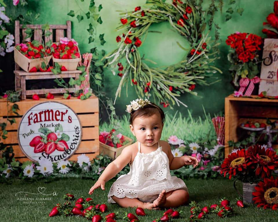 Katebackdrop:Kate Summer Strawberry and White Flower Green Leaves With Banners Birthday Backdrop