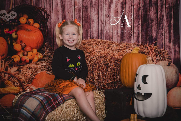 Katebackdrop:Kate Halloween Fall Pumpkin Grass Pile Farm Backdrop Photography