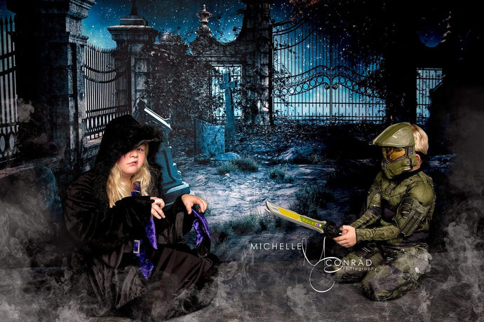 Katebackdrop:Kate Halloween Night Scene Grave Backdrop Light Photo Background