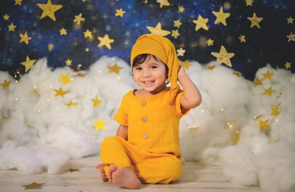 Katebackdrop£ºKate Night Sky with Gold Stars Children Backdrop for Photography Designed by Mandy Ringe Photography