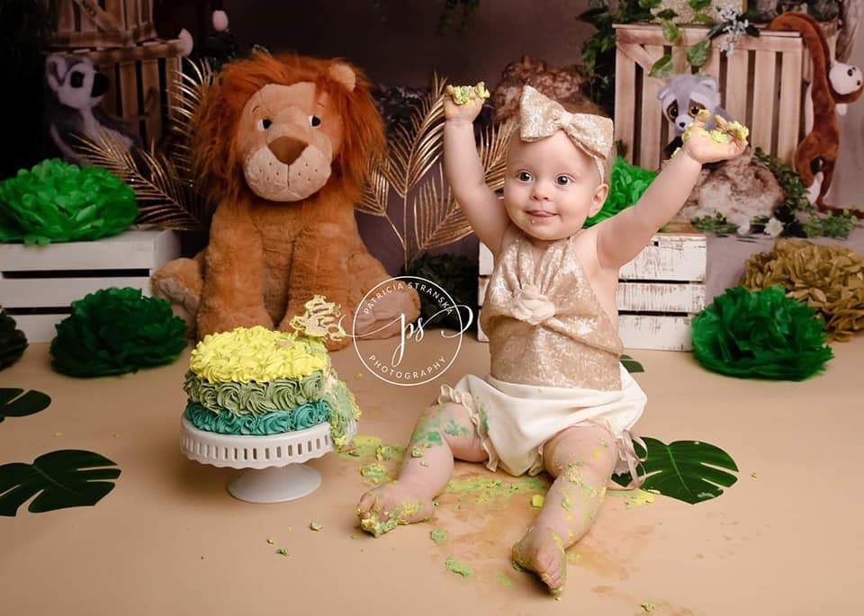 Cargar imagen en el visor de la galería, Katebackdrop:Kate Jungle cartoon zoo animals Summer backdrop 1st cake smash designed by studio gumot