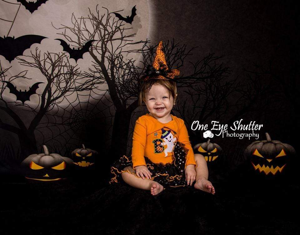 Cargar imagen en el visor de la galería, Katebackdrop:Kate Halloween Moon Gloomy Woods with Bats And Pumpkin Backdrop for Photography