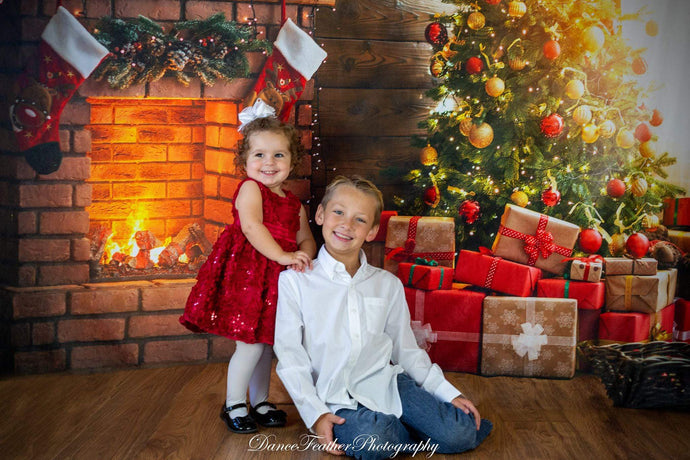 Katebackdrop:Kate Winter Christmas trees  Fireplace  Stockings  Christmas Gifts for Pictures