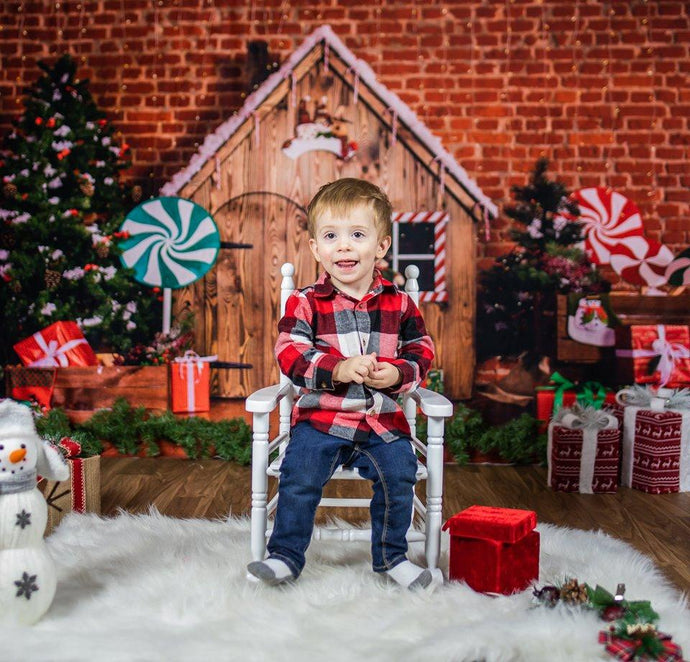 Katebackdrop£ºKate Christmas Wooden House Decorations Backdrop for Photography