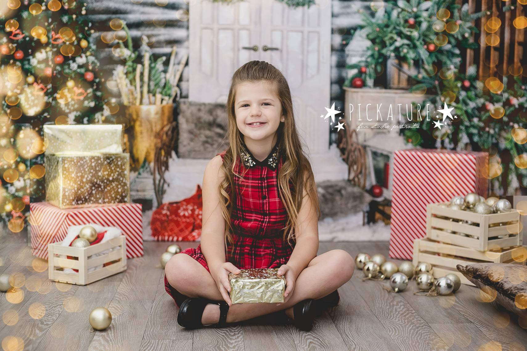 Cargar imagen en el visor de la galería, Katebackdrop:Kate Christmas Trees White Door Decorations  Backdrop for Photography