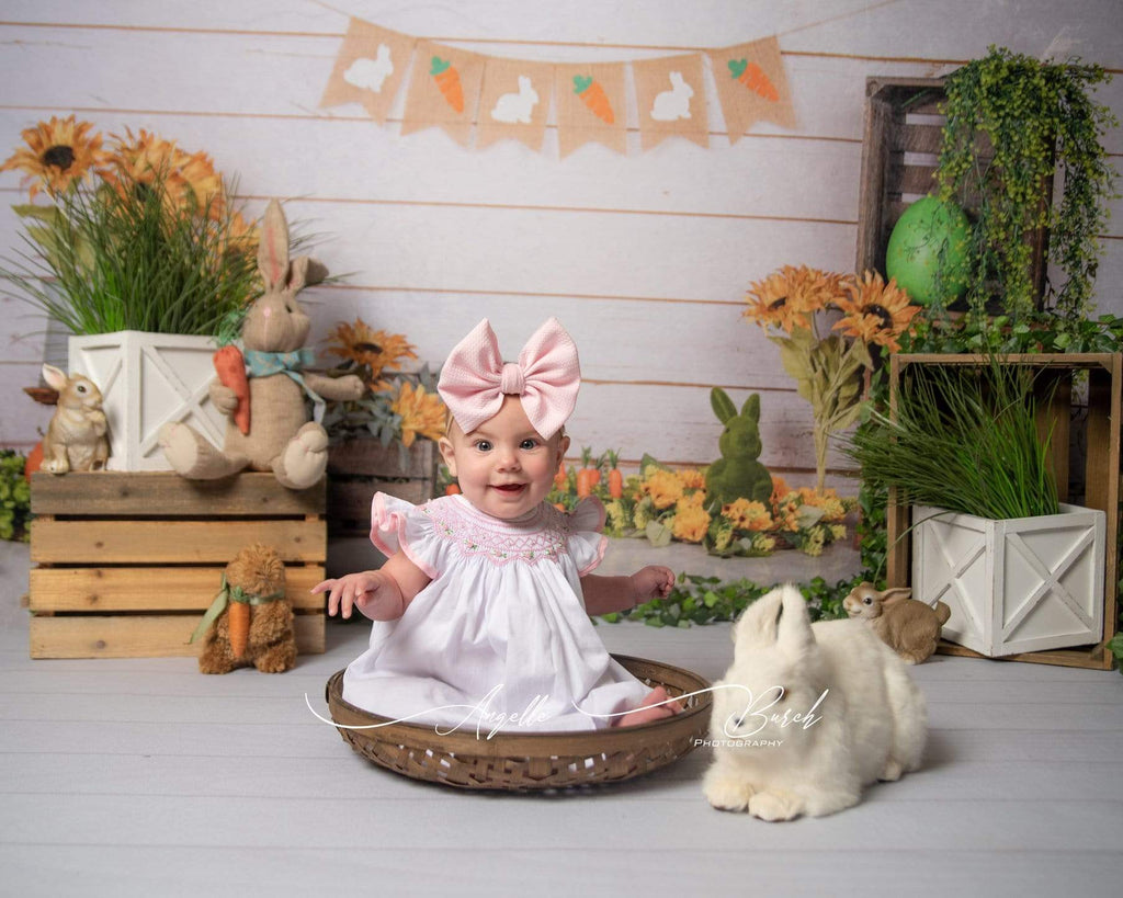 Katebackdrop£ºKate Wooden Sunflower Rabbit Spring/Easter Backdrop for Photography Designed by Jia Chan Photography