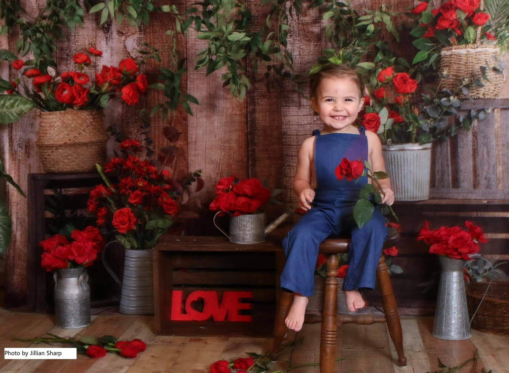 Katebackdrop£ºKate Spring Red Flower Wooden Backdrop Designed by Jia Chan Photography
