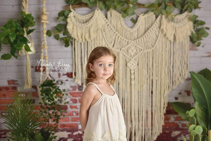 Katebackdrop:Kate Spring Boho Macrame Wall with Plants Backdrop Designed By Mandy Ringe Photography