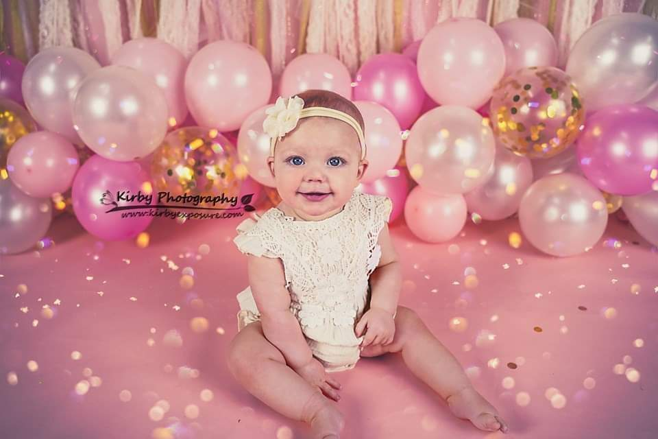Katebackdrop:Kate Birthday Pink & Gold Ribbons with Balloons Backdrop Designed By Arica Kirby