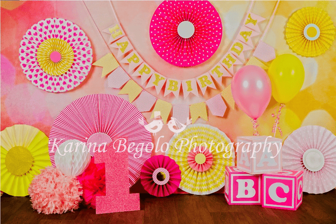 Katebackdrop£ºKate 1st Birthday Flowers Backdrop designed by Karina Begolo photography