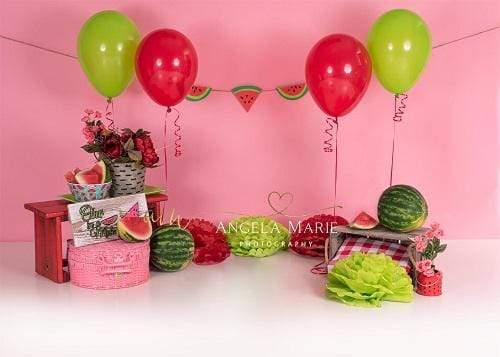 Katebackdrop:Kate Birthday&Cake Smash Watermelon for Children Backdrop Designed By Angela Marie Photography