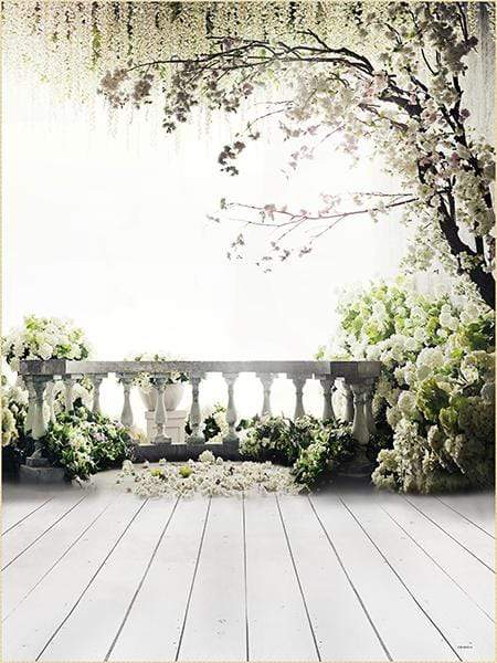 Katebackdrop:Kate Flower Tree Backdrop Scenery Railing Wedding US