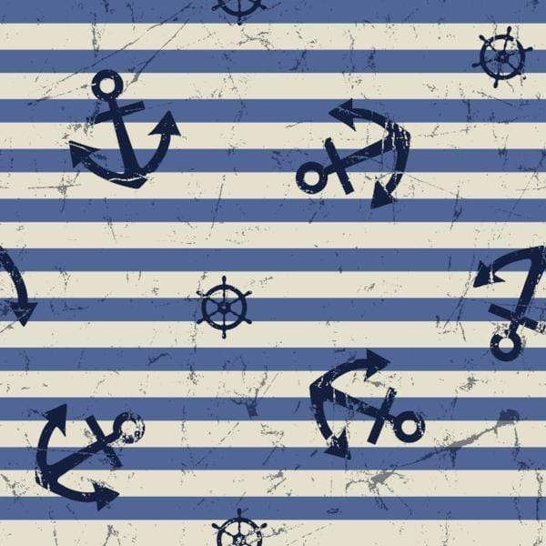 Katebackdrop:Kate Blue And White Stripes With Anchor And Rudder Sea for Photography