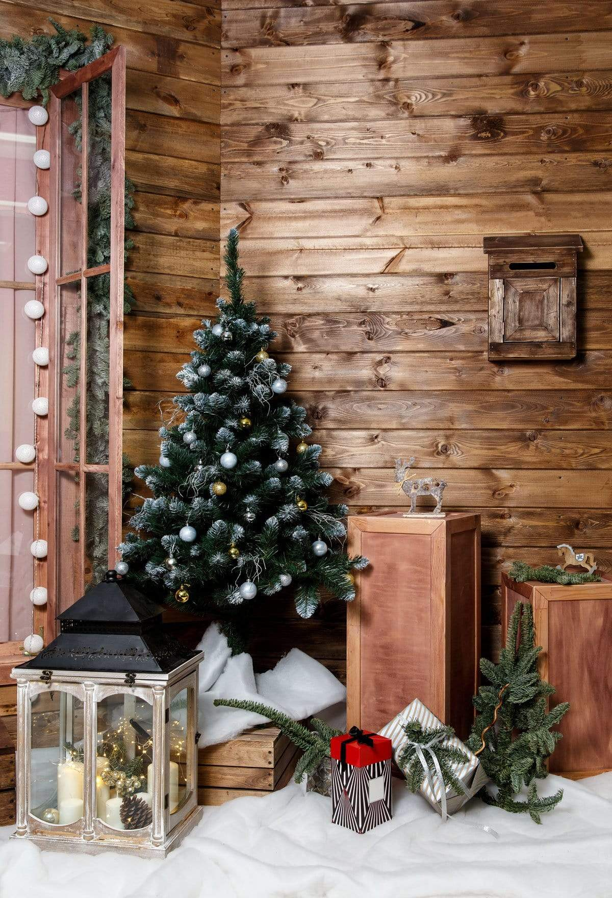 Cargar imagen en el visor de la galería, Katebackdrop:Kate Wood Wall And Christmas Tree With Decorations for Photography