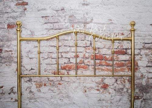 Katebackdrop£ºKate Full Brass Bed Headboard Brick Wall Backdrop for Photography Designed by Pine Park Collection