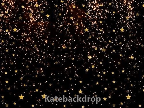 Katebackdrop:Kate Black Golden Stars Bokeh Children Backdrop Designed by Jerry_sina
