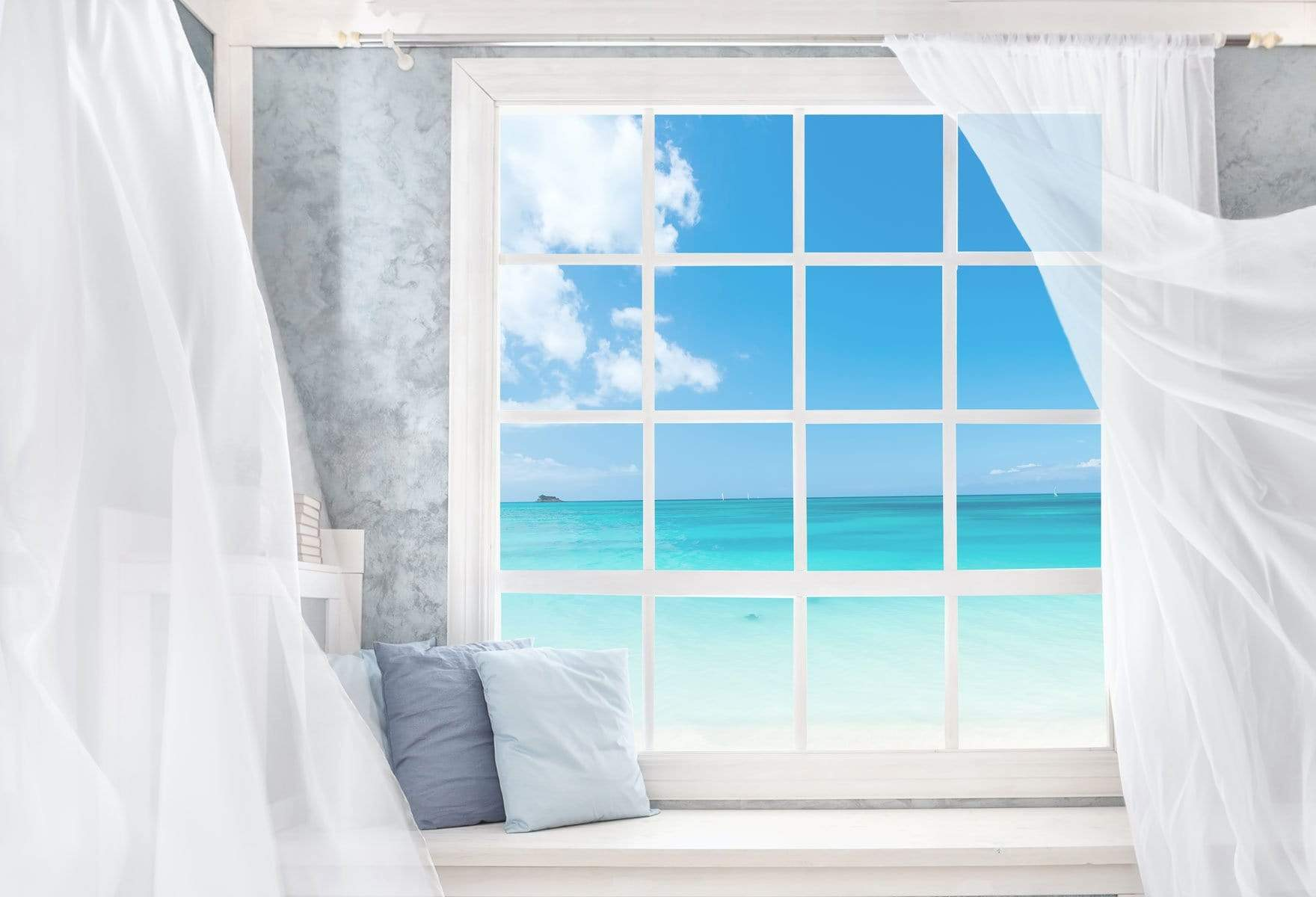 Cargar imagen en el visor de la galería, Katebackdrop£ºKate Sea View Outside Window Summer Backdrop Designed by JFCC