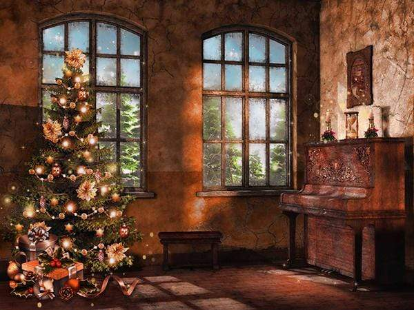 Katebackdrop£ºKate Christmas Tree Photography Backdrop Piano Photo Background