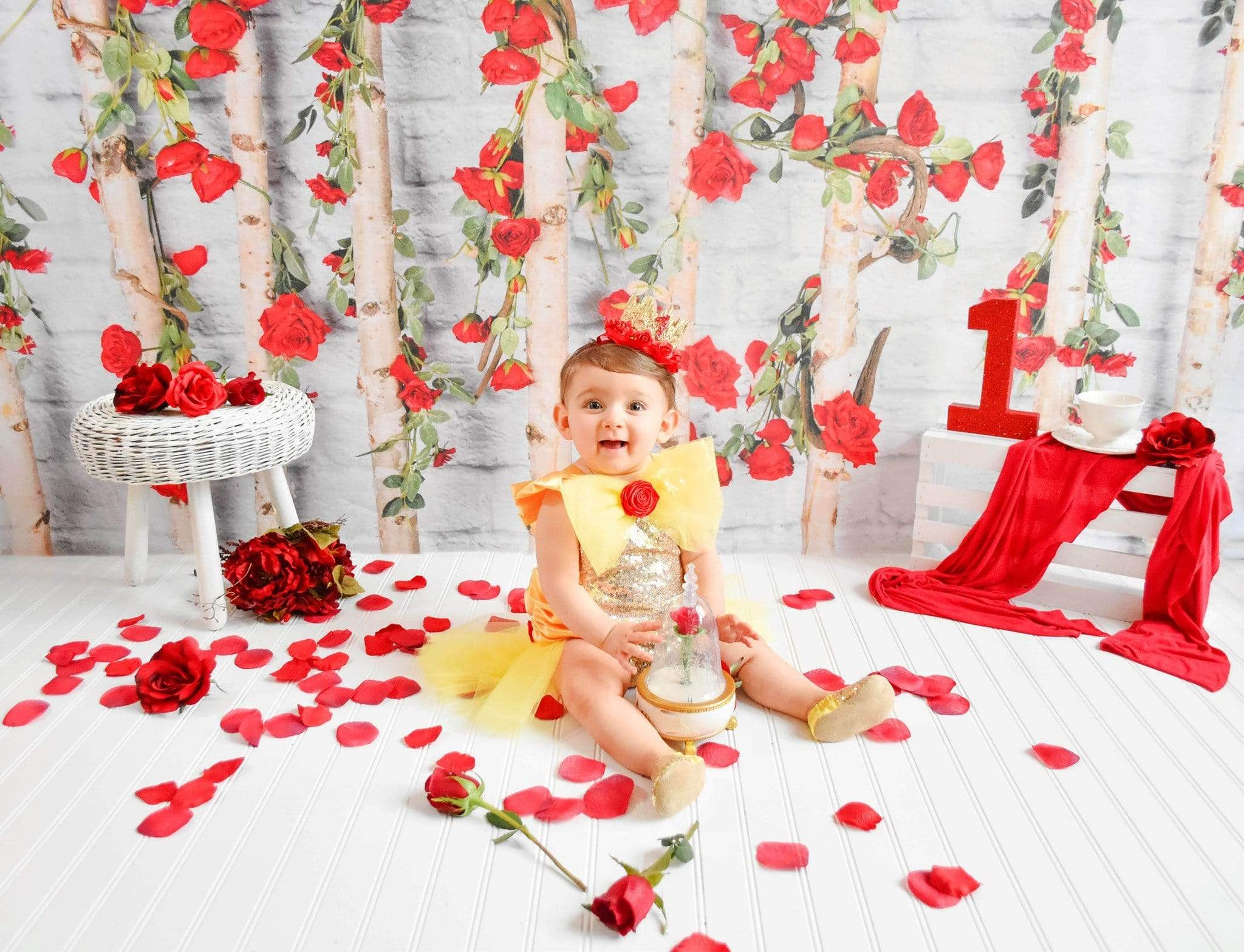 Cargar imagen en el visor de la galería, Katebackdrop£ºKate Valentines\Mother's Day Wooden Stick with Roses Backdrop Designed by Jia Chan Photography