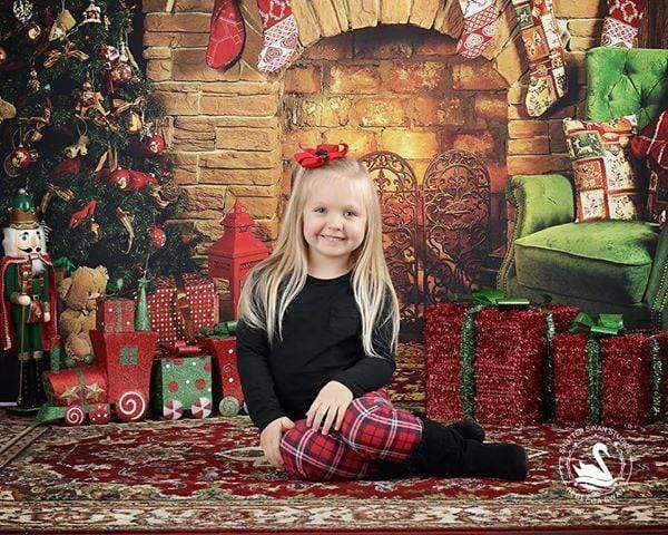 Cargar imagen en el visor de la galería, Katebackdrop£ºKate Christmas Fireplace parlor Decorations Backdrop for Photography