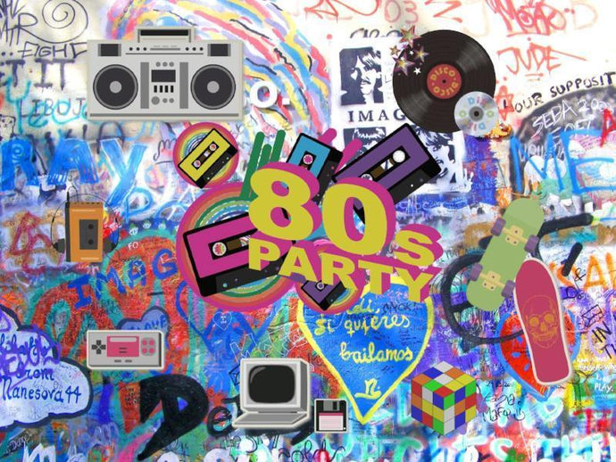 Katebackdrop:Kate Graffiti 80th Photography Backdrop No Wrinkle Hip Hop 80's Party Decoration Photo