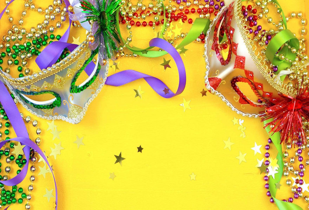 Katebackdrop:Kate Carnival Yellow Background With Masks And Accessories for Photography