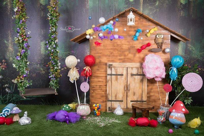 Katebackdrop:Kate Jungle candyland hourse backdrop Fantasy forest designed by studio gumot
