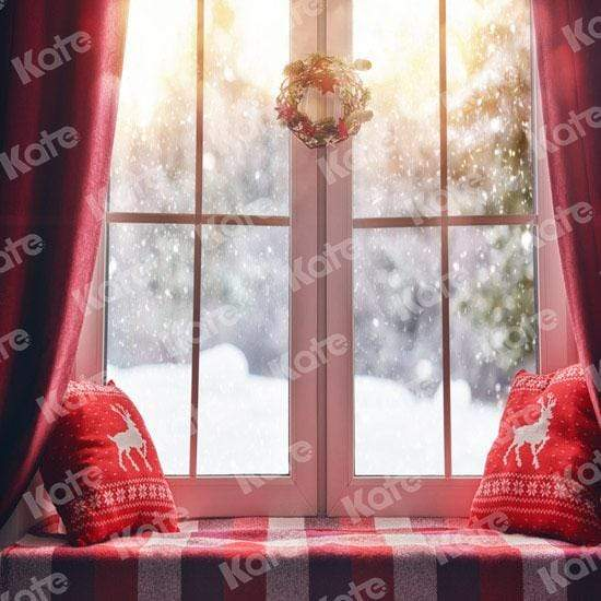Cargar imagen en el visor de la galería, Katebackdrop£ºKate Christmas Snow And Sunshine Outside Window Backdrops for Photography