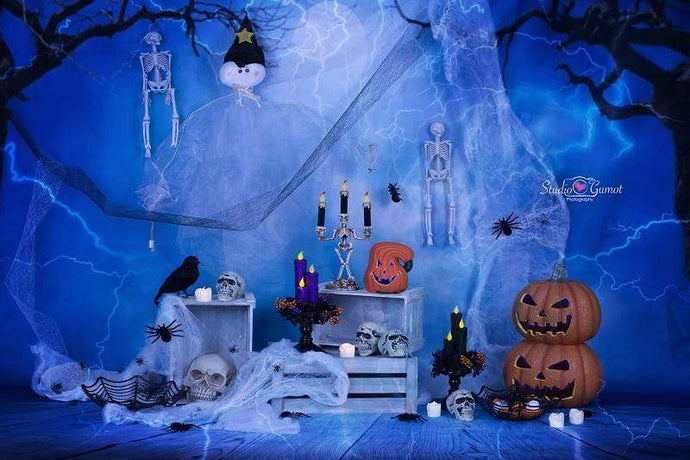 Katebackdrop:Kate Halloween Pumpkin And Dragonfly Decorations Backdrop for Photography designed by Studio Gumot