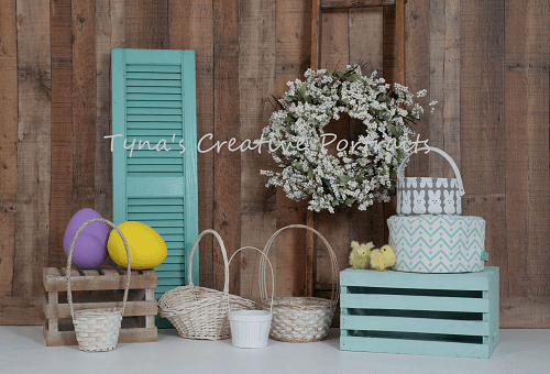 Cargar imagen en el visor de la galería, Katebackdrop£ºKate Wood Wall Flowers Easter Decorations Spring Backdrop for Photography Designed by Tyna Renner