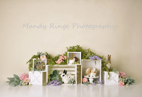 Katebackdrop£ºKate Spring Rabbits Flowers Children Easter Backdrop for Photography Designed by Mandy Ringe Photography