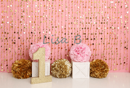 Katebackdrop£ºKate Pink Gold Birthday Backdrop for Photography Designed by Lisa B