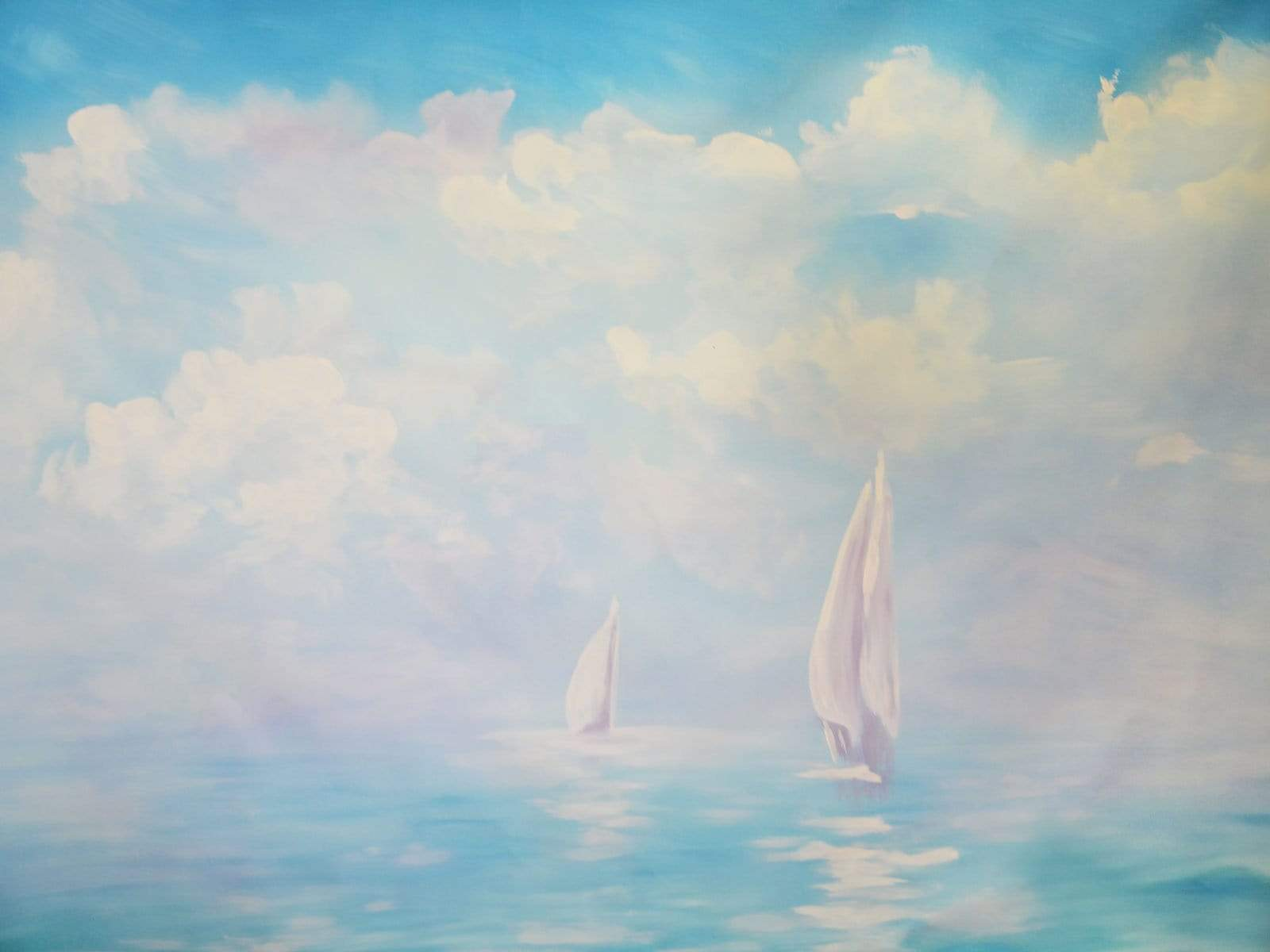 Cargar imagen en el visor de la galería, Katebackdrop£ºKate Summer Sea painting Sailboat Backdrop for Photography Designed By Jerry_Sina