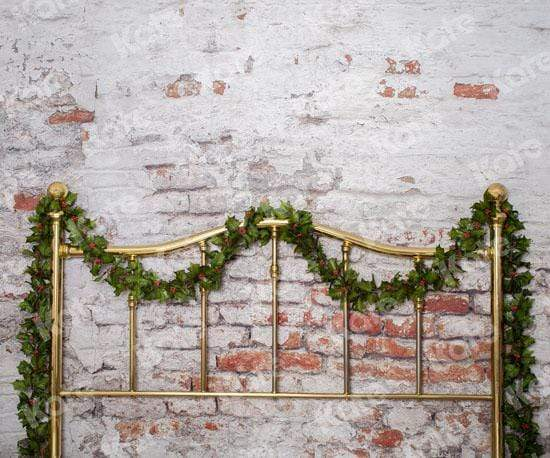 Katebackdrop:Kate Half Brass Bed with Ivy Headboard Brick Wall Backdrop Designed by Pine Park Collection