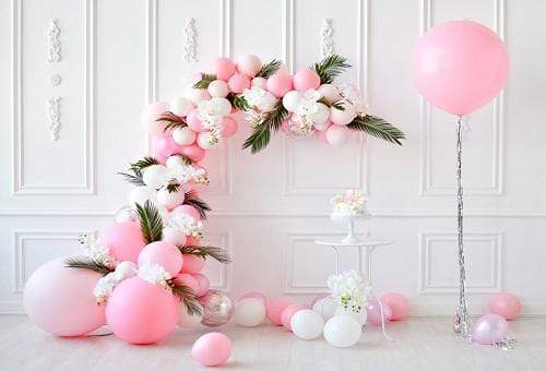 Cargar imagen en el visor de la galería, Katebackdrop£ºKate Cake Smash White Wall with Pink Balloons Backdrop for Photography