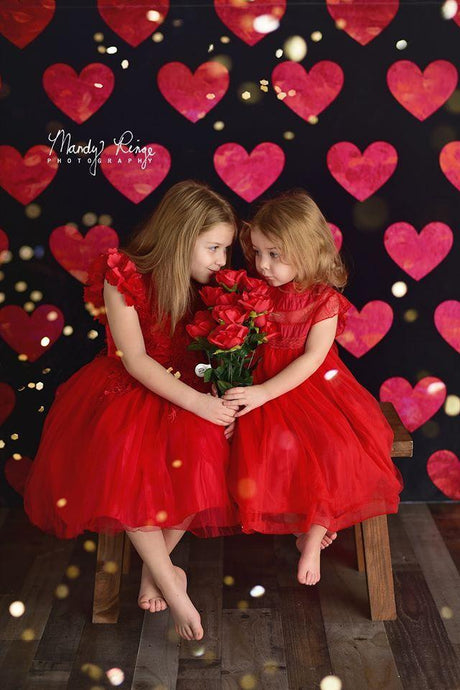 Katebackdrop:Kate Painted Heart Pattern Valentines Backdrop Designed By Mandy Ringe Photography