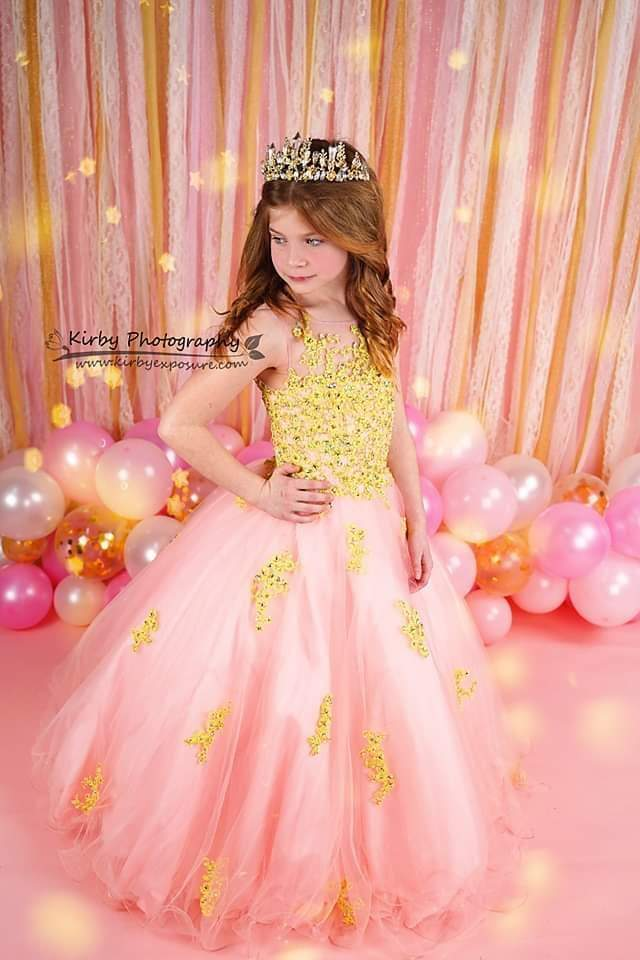 Cargar imagen en el visor de la galería, Katebackdrop:Kate Birthday Pink & Gold Ribbons with Balloons Backdrop Designed By Arica Kirby