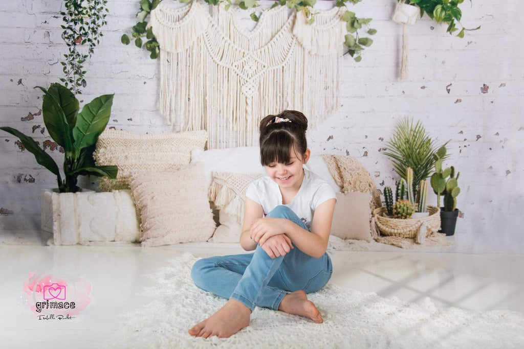 Katebackdrop£ºKate Boho Macrame Floor Pillows with Plants Spring Backdrop Designed By Mandy Ringe Photography