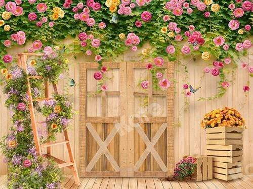 Katebackdrop:Kate Spring Flower Garden Wood Door Backdrop Designed By Ava Lee