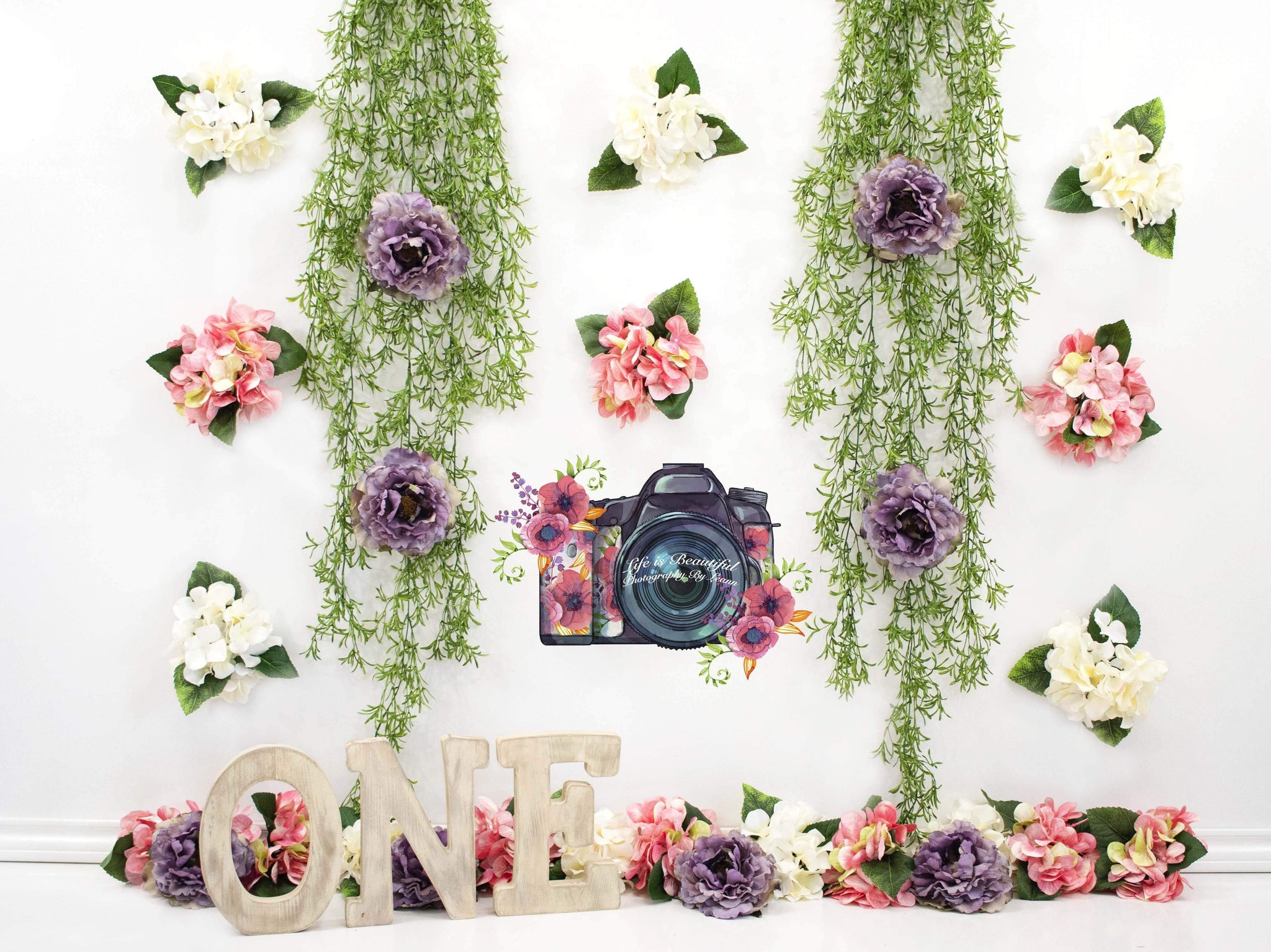 Cargar imagen en el visor de la galería, Katebackdrop£ºKate 1st Birthday Flower Grass Decoration Backdrop for Photography Designed By Leann West