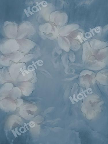 Katebackdrop:Kate Fine Art Blue Painting Flowers Backdrop for Photography