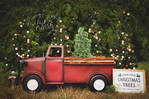 Katebackdrop£ºKate Christmas Red Truck Tree Farm Backdrop Designed By Pine Park Collection