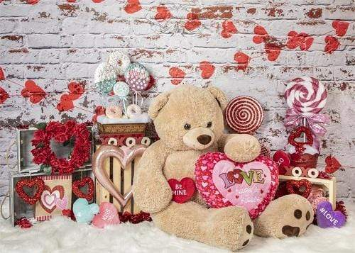 Katebackdrop£ºKate Valentine's Day with Toy Bear Backdrop Designed by Lisa Olson