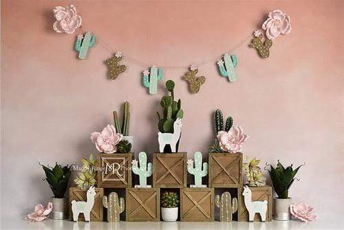 Katebackdrop£ºKate Spring Pastel Llamas with Cactus Pink Backdrop for Children Designed By Mandy Ringe Photography